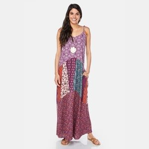 Charming Charlie's Floral Patchwork Maxi Dress